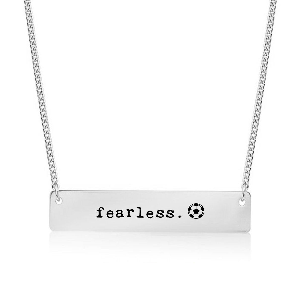 Fearless Soccer Gold / Silver Bar Necklace - pipercleo.com