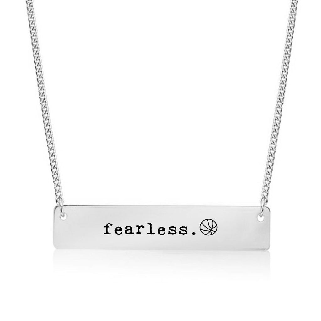 Fearless Basketball Gold / Silver Bar Necklace - pipercleo.com