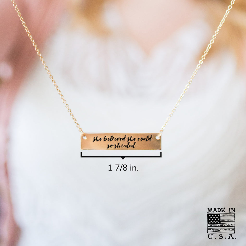 She believed she could so she did Gold / Silver Bar Necklace - pipercleo.com