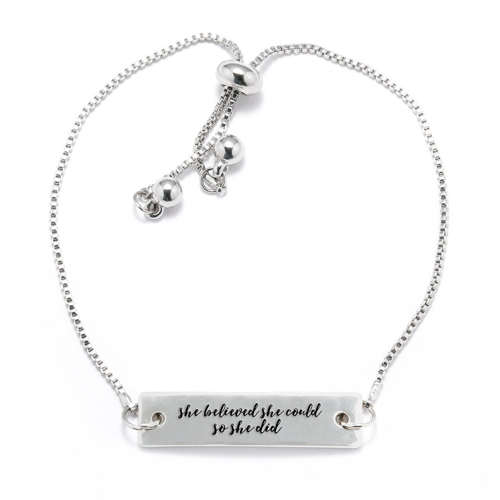 She Believed She Could So She Did Silver Bar Adjustable Bracelet - pipercleo.com