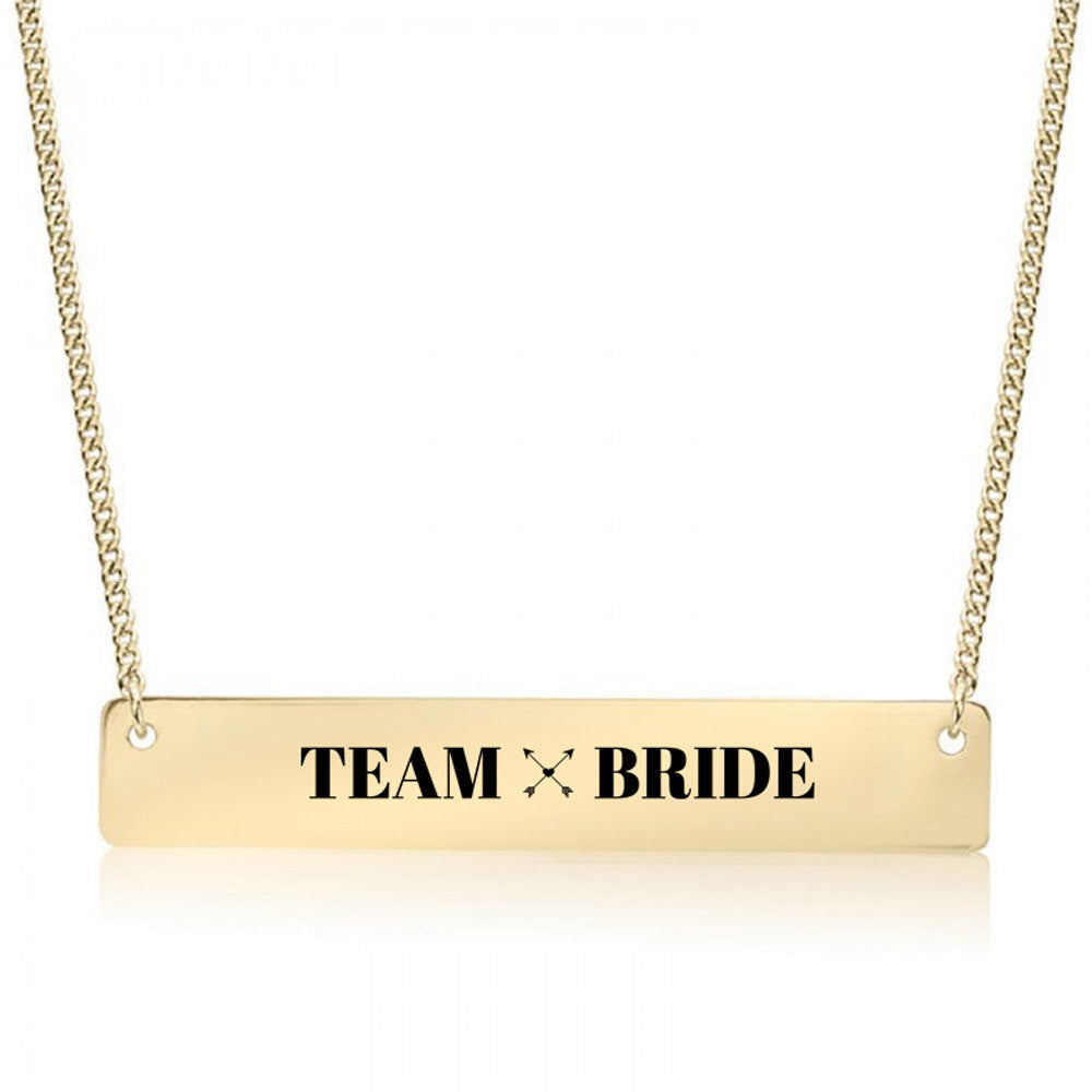 Team Bride Gold / Silver Bar Necklace - pipercleo.com