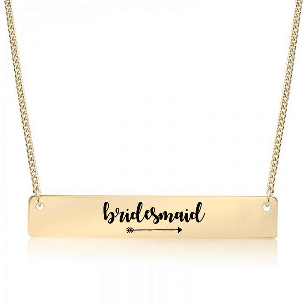 Bridesmaid Gold / Silver Bar Necklace - Bridesmaid Gift - pipercleo.com