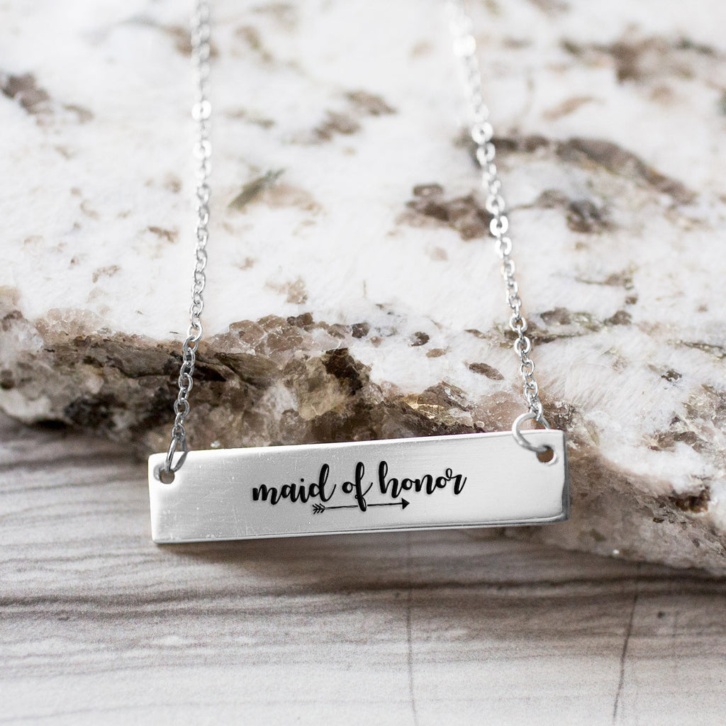 Maid Of Honor Gold / Silver Bar Necklace - Bridesmaid Gift