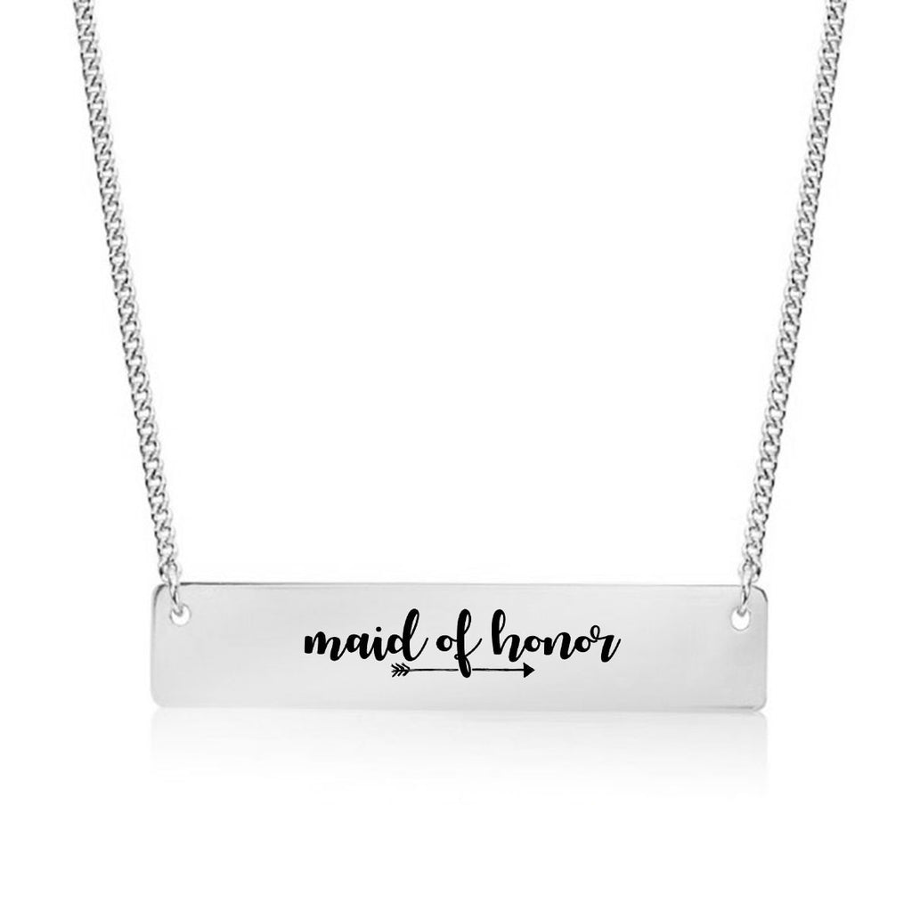 Maid Of Honor Gold / Silver Bar Necklace - Bridesmaid Gift - pipercleo.com