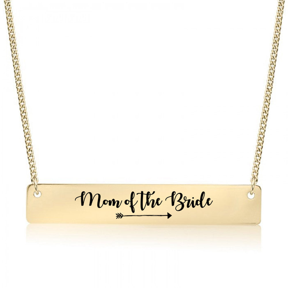 Mother of the Bride Gold / Silver Bar Necklace - Bridesmaid Gift - pipercleo.com