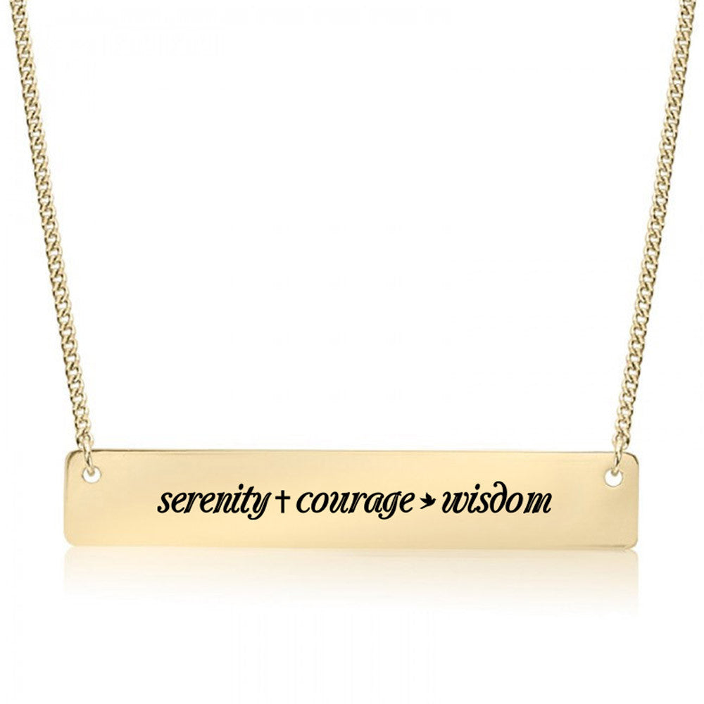 Serenity Prayer Gold / Silver Bar Necklace