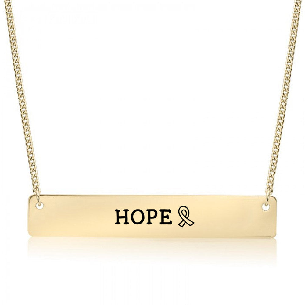 Hope Ribbon Gold / Silver Bar Necklace - pipercleo.com
