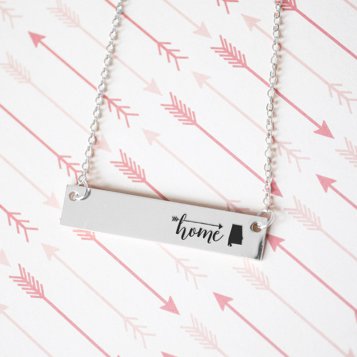 Home is Alabama Gold / Silver Bar Necklace - pipercleo.com