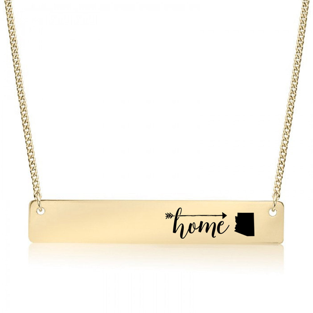 Home is Arizona Gold / Silver Bar Necklace - pipercleo.com