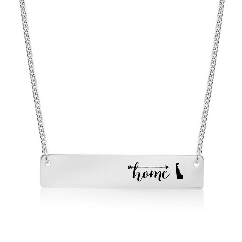 Home is Delaware Gold / Silver Bar Necklace - pipercleo.com