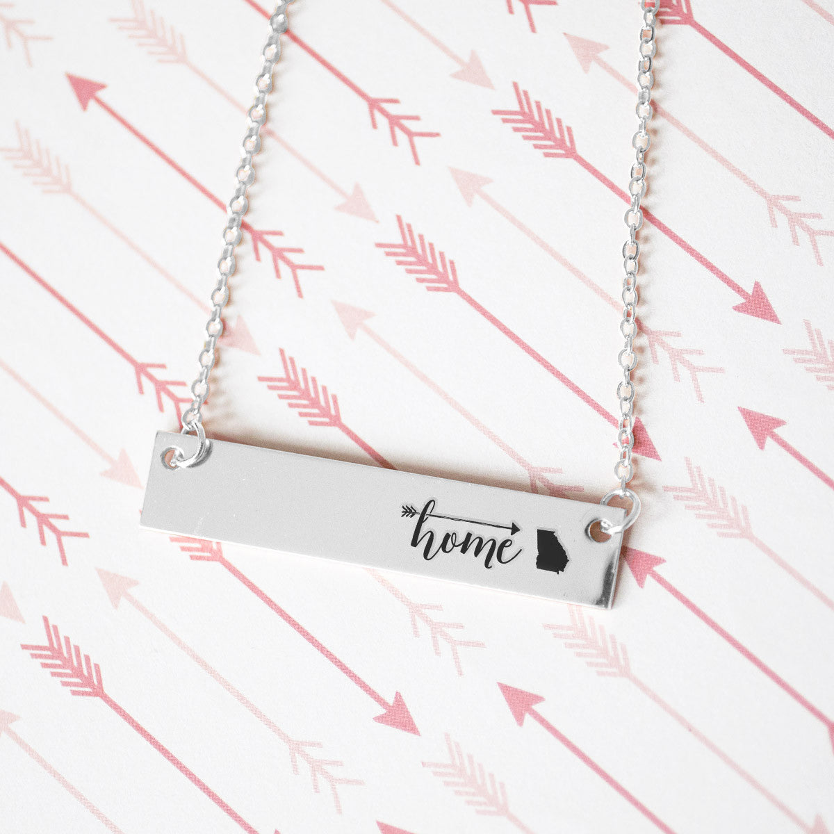 Home is Georgia Gold / Silver Bar Necklace - pipercleo.com