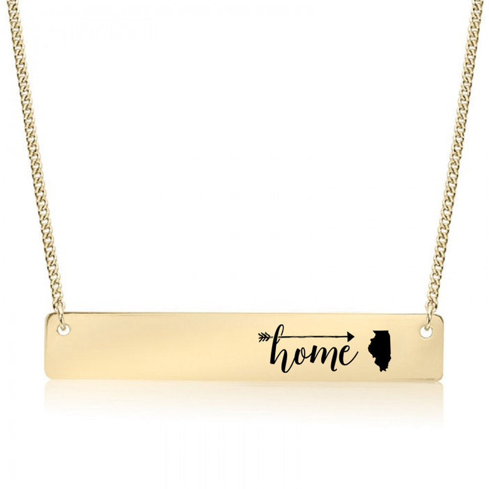 Home is Illinois Gold / Silver Bar Necklace