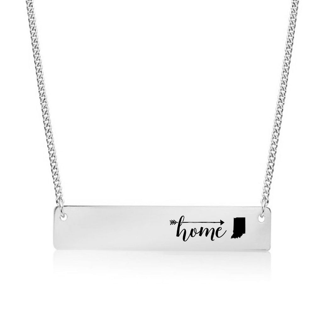 Home is Indiana Gold / Silver Bar Necklace