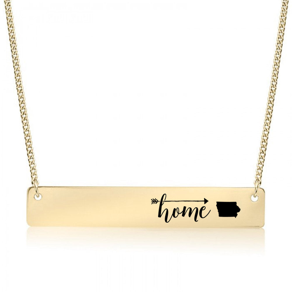 Home is Iowa Gold / Silver Bar Necklace
