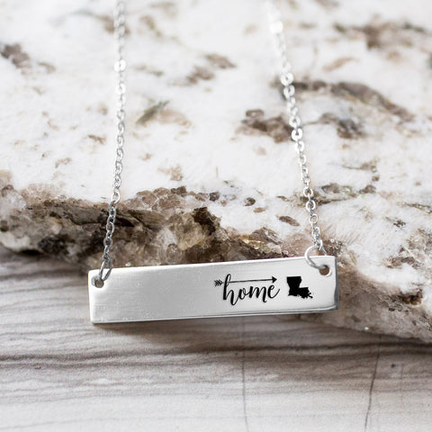 Home is Louisiana Gold / Silver Bar Necklace