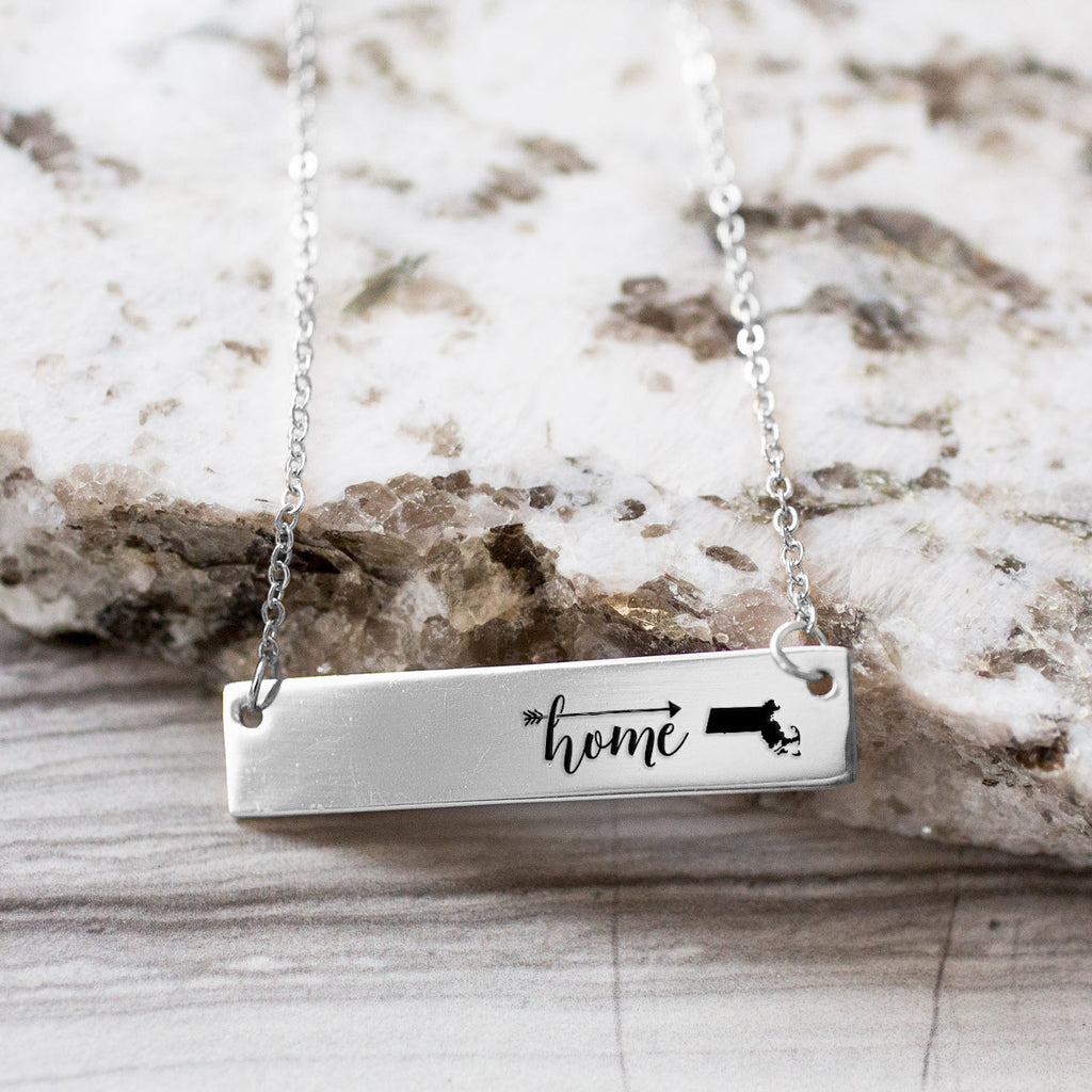 Home is Massachusetts Gold / Silver Bar Necklace - pipercleo.com