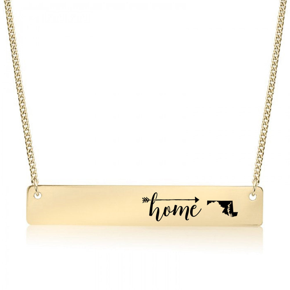Home is Maryland Gold / Silver Bar Necklace - pipercleo.com