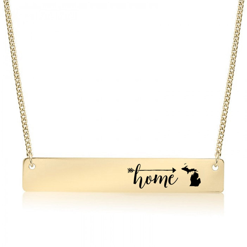 Home is Michigan Gold / Silver Bar Necklace - pipercleo.com