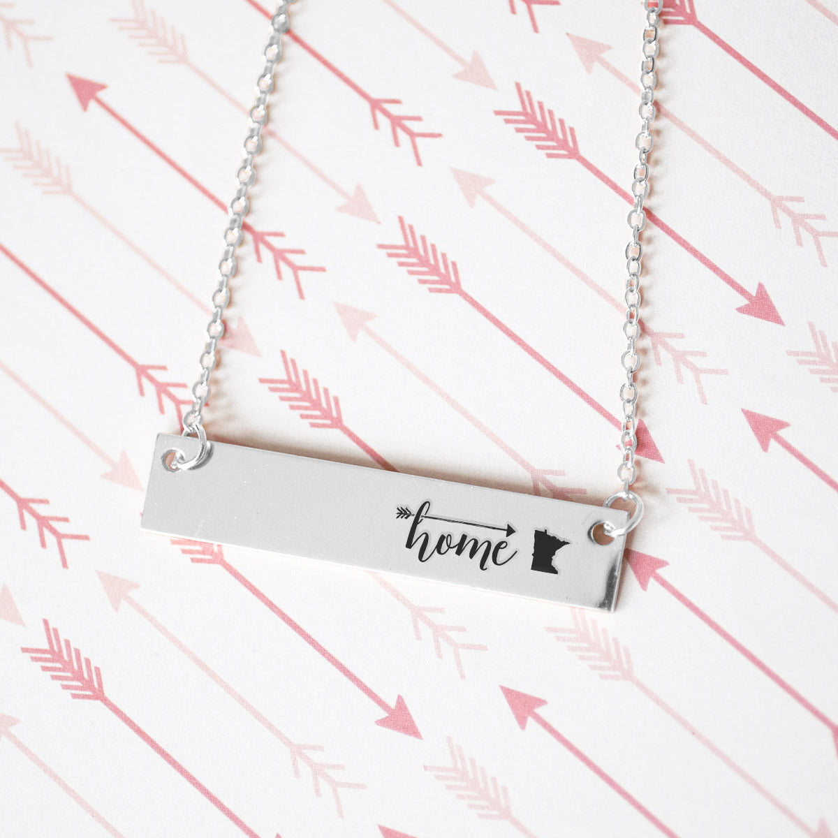Home is Minnesota Gold / Silver Bar Necklace - pipercleo.com