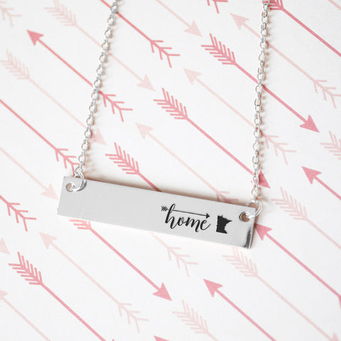 Home is Minnesota Gold / Silver Bar Necklace