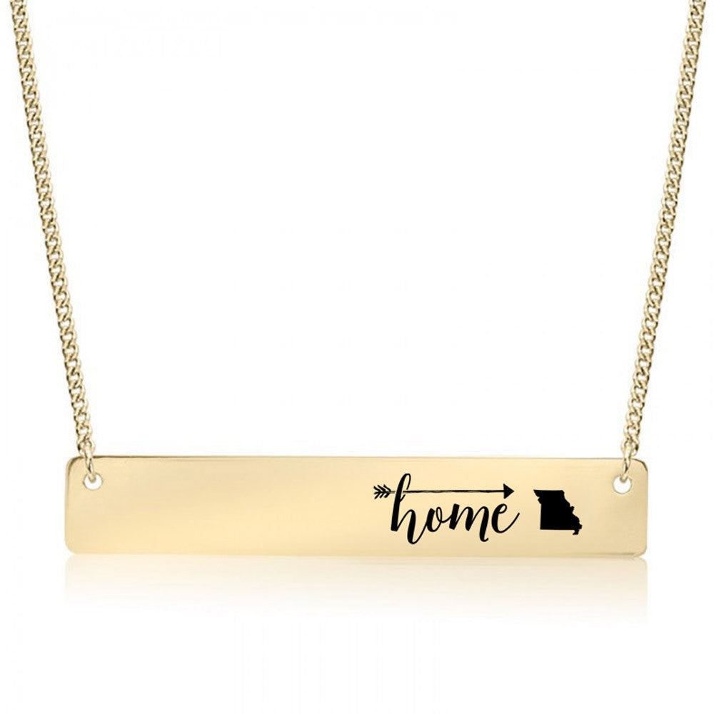Home is Missouri Gold / Silver Bar Necklace
