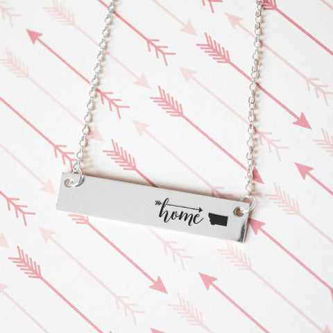 Home is Montana Gold / Silver Bar Necklace