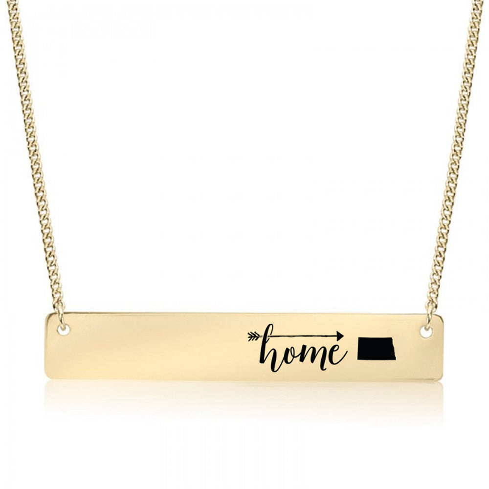 Home is North Dakota Gold / Silver Bar Necklace
