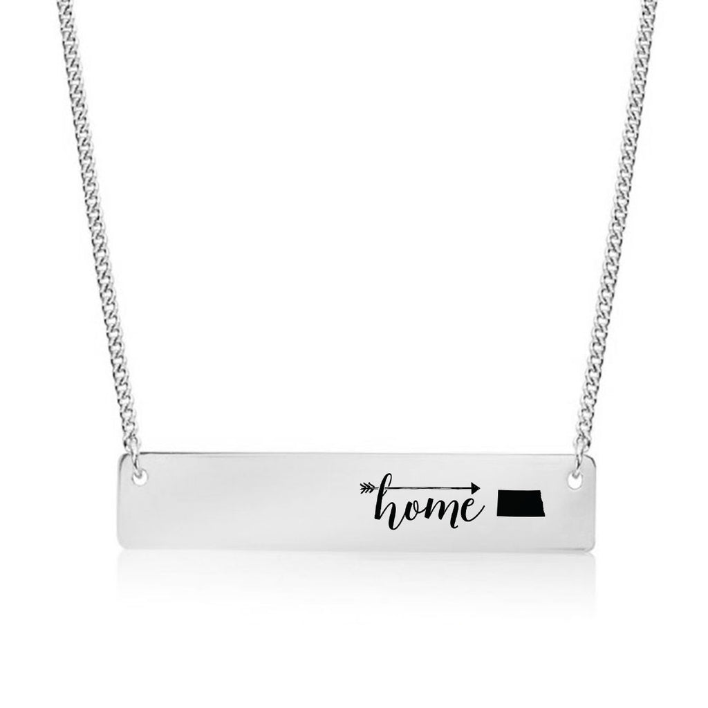 Home is North Dakota Gold / Silver Bar Necklace - pipercleo.com