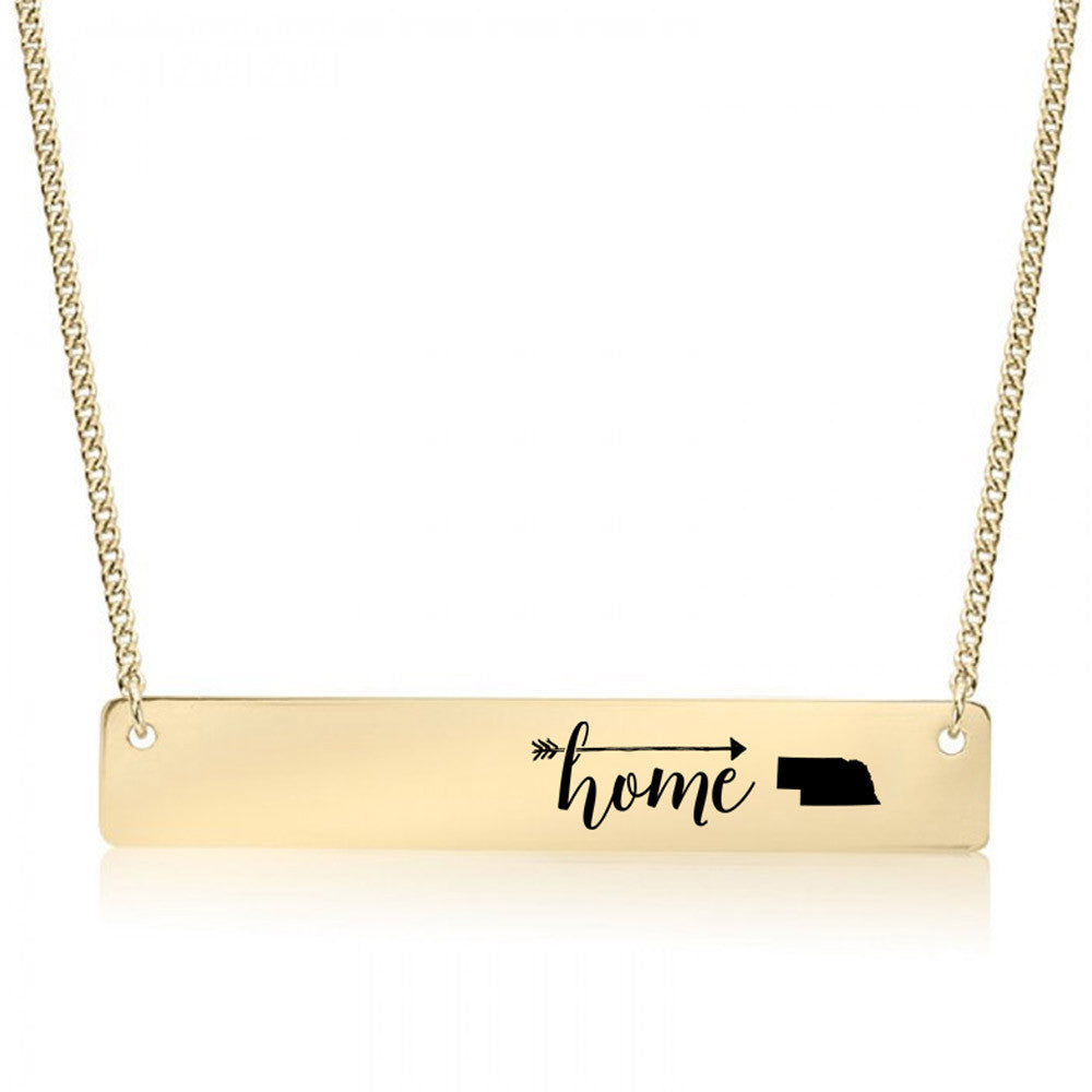 Home is Nebraska Gold / Silver Bar Necklace - pipercleo.com