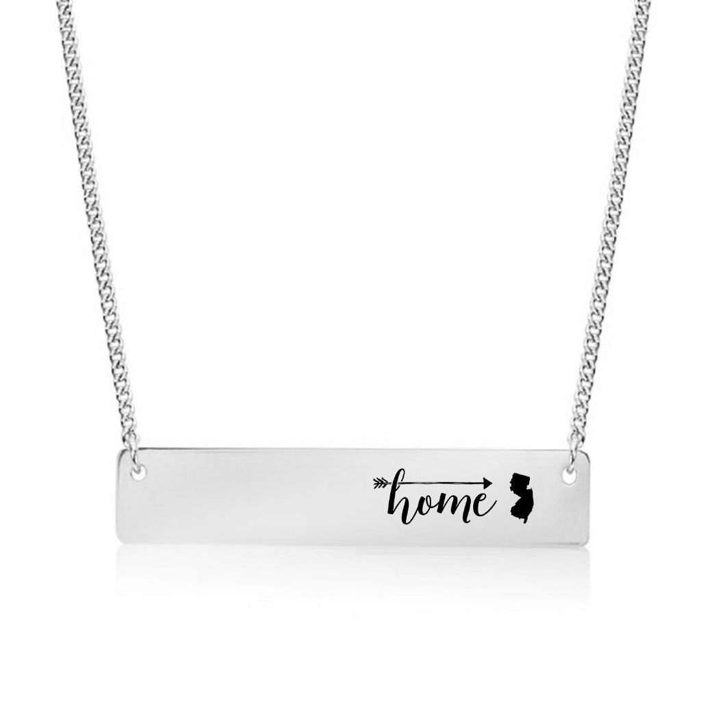Home is New Jersey Gold / Silver Bar Necklace