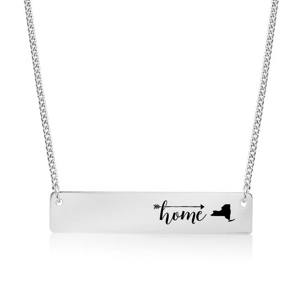 Home is New York Gold / Silver Bar Necklace - pipercleo.com