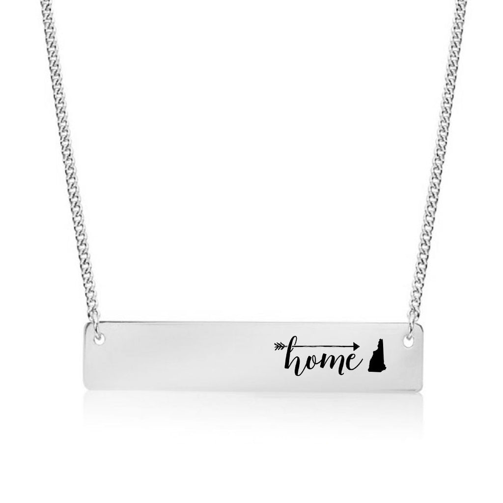 Home is New Hampshire Gold / Silver Bar Necklace