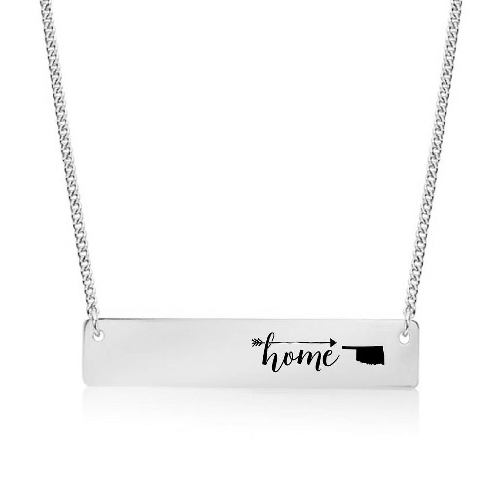 Home is Oklahoma Gold / Silver Bar Necklace - pipercleo.com