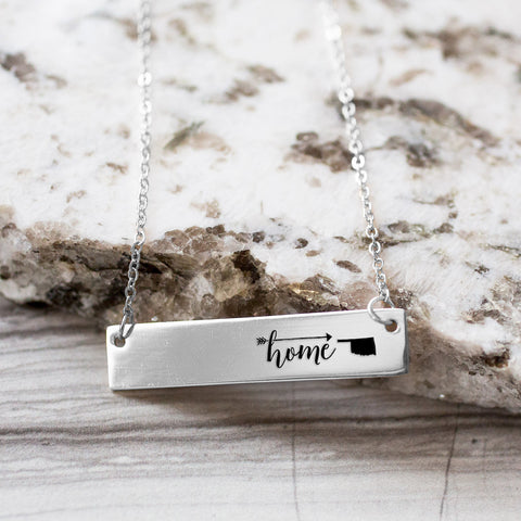 Home is Oklahoma Gold / Silver Bar Necklace