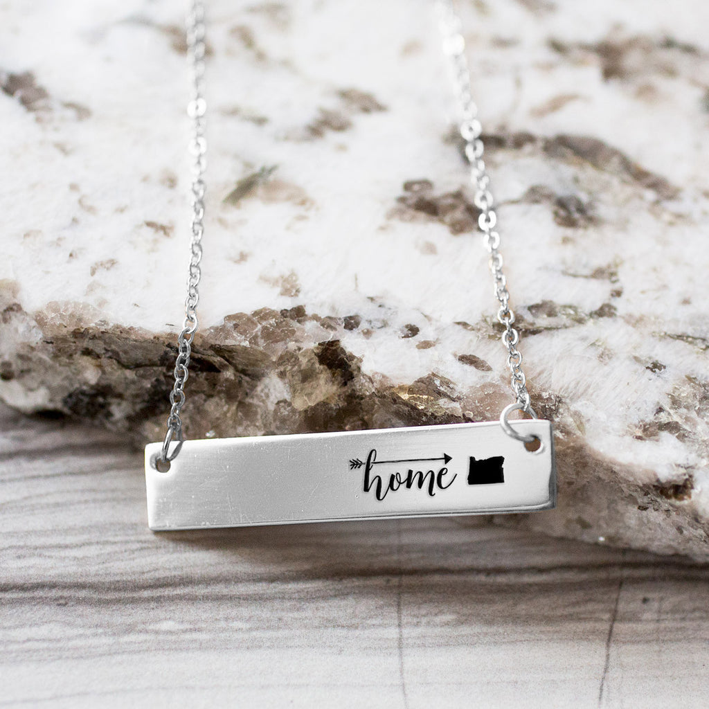 Home is Oregon Gold / Silver Bar Necklace