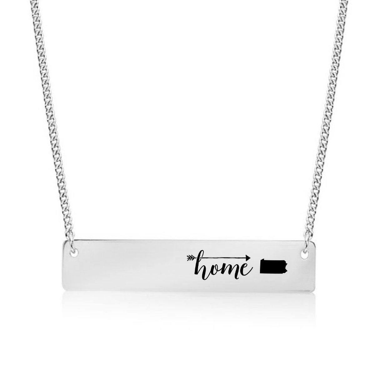 Home is Pennsylvania Gold / Silver Bar Necklace