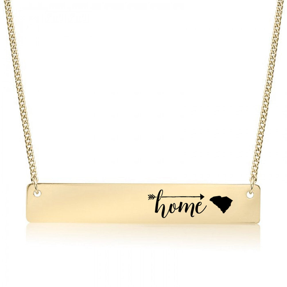 Home is South Carolina Gold / Silver Bar Necklace