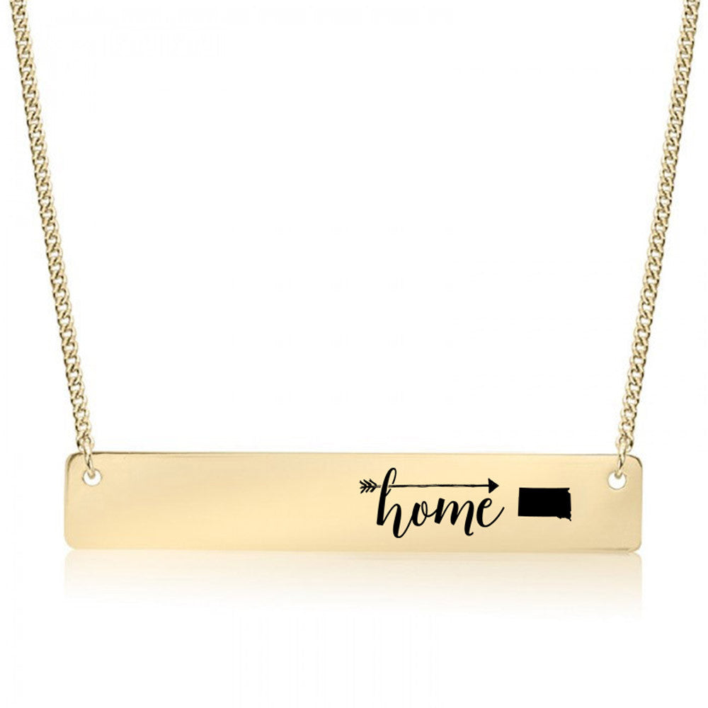 Home is South Dakota Gold / Silver Bar Necklace - pipercleo.com