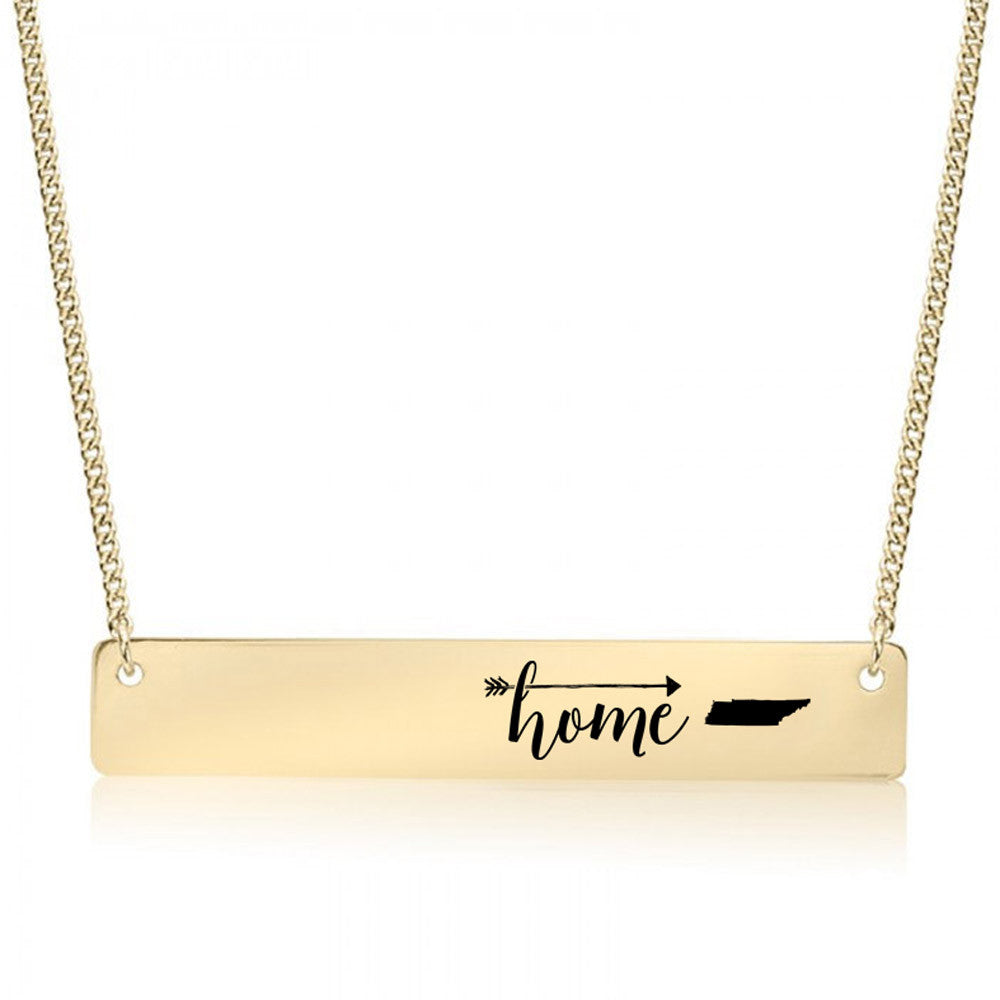 Home is Tennessee Gold / Silver Bar Necklace - pipercleo.com