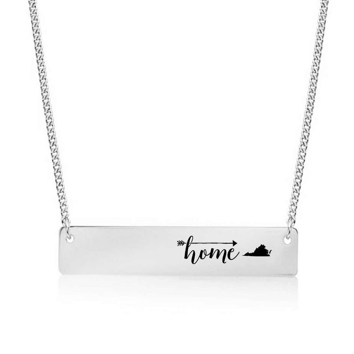 Home is Virginia Gold / Silver Bar Necklace - pipercleo.com