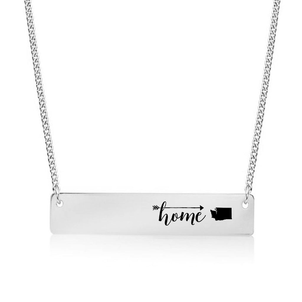 Home is Washington Gold / Silver Bar Necklace