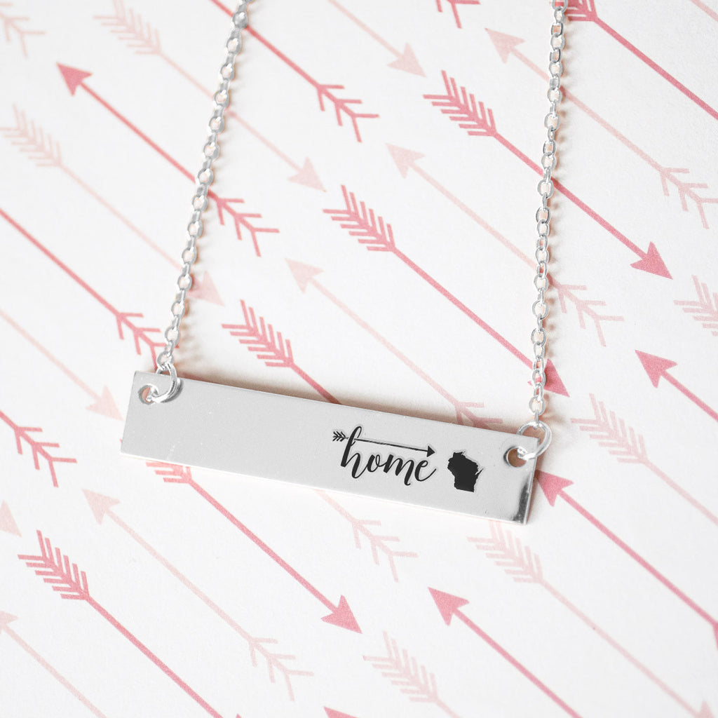 Home is Wisconsin Gold / Silver Bar Necklace - pipercleo.com
