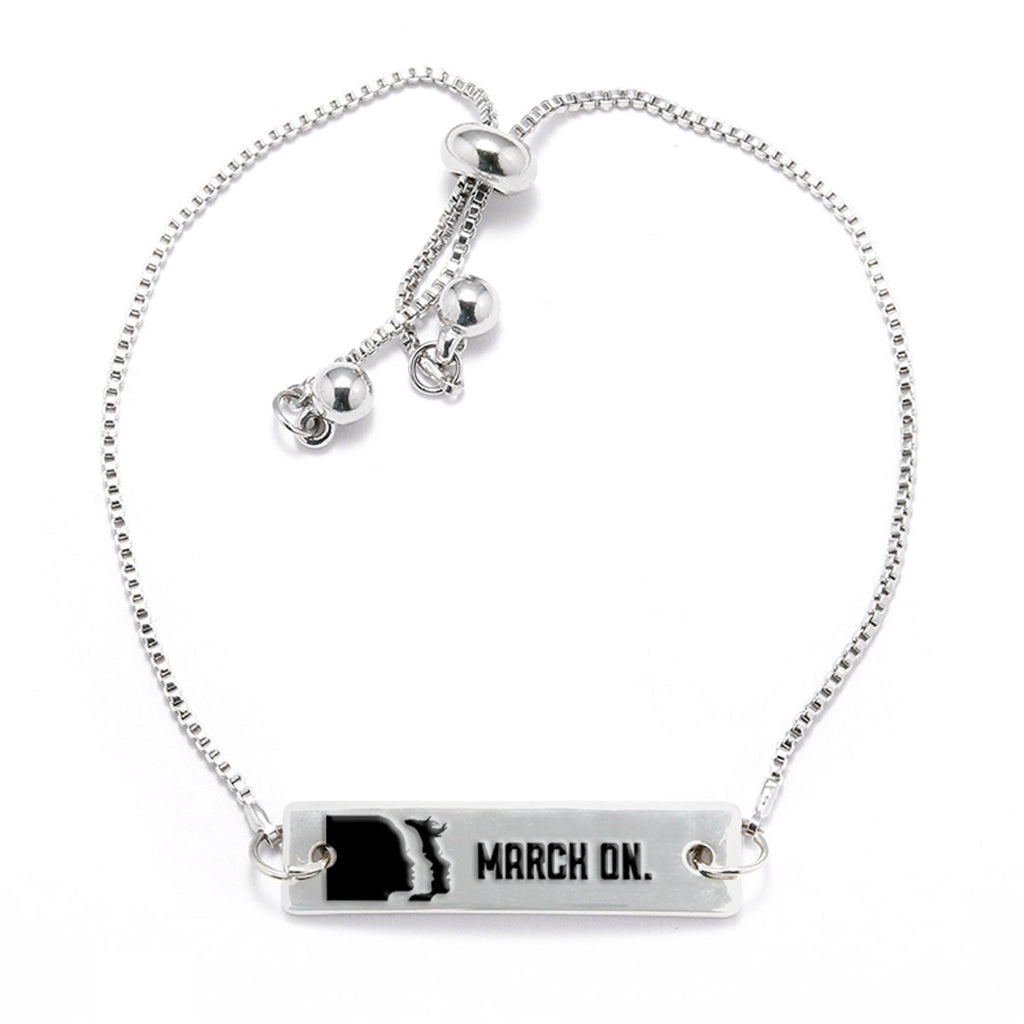 March On Silver Bar Adjustable Bracelet - pipercleo.com