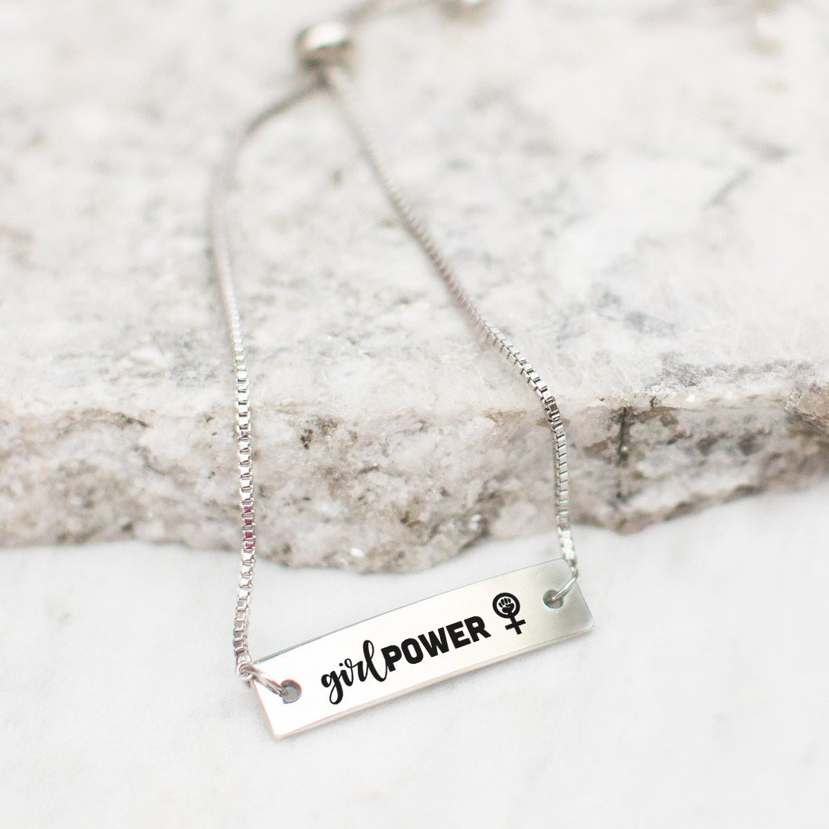 Girl Power Silver Bar Adjustable Bracelet - pipercleo.com