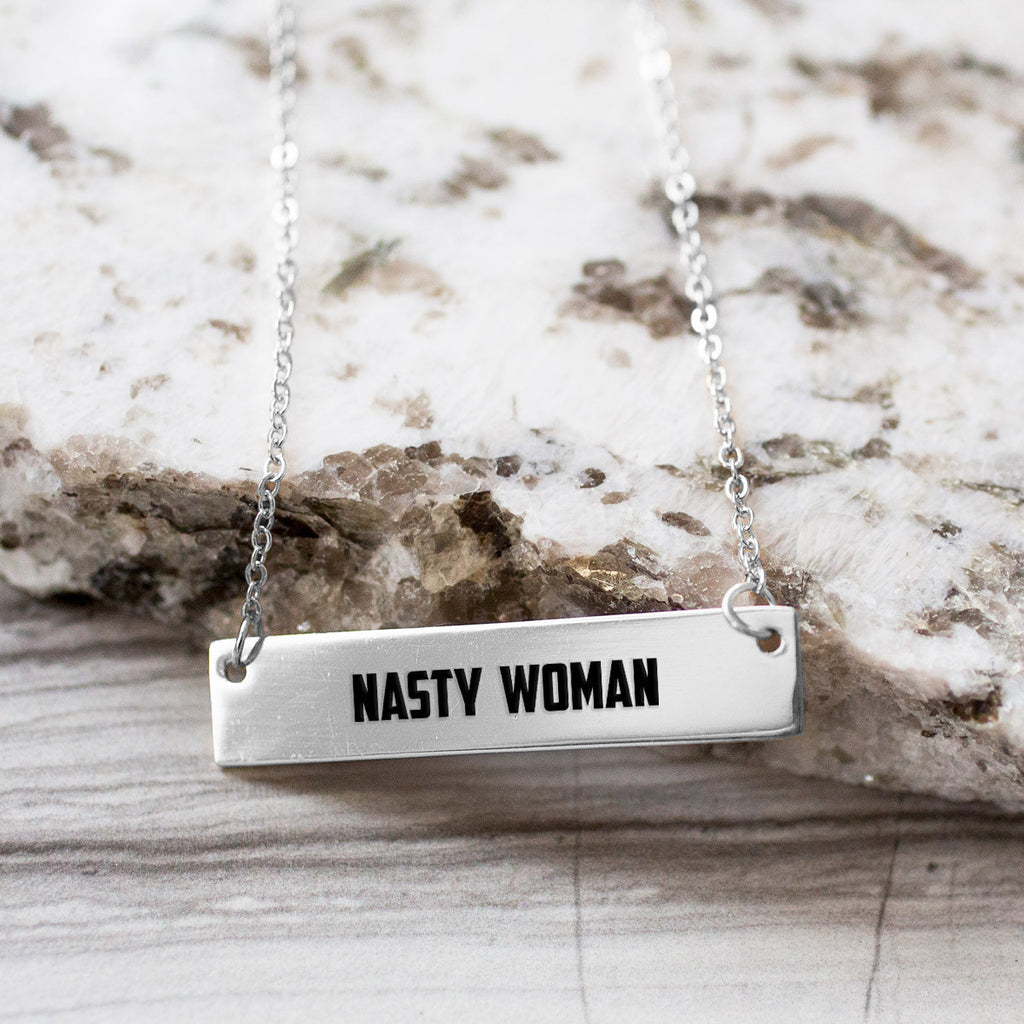 Nasty Woman Gold / Silver Bar Necklace - pipercleo.com