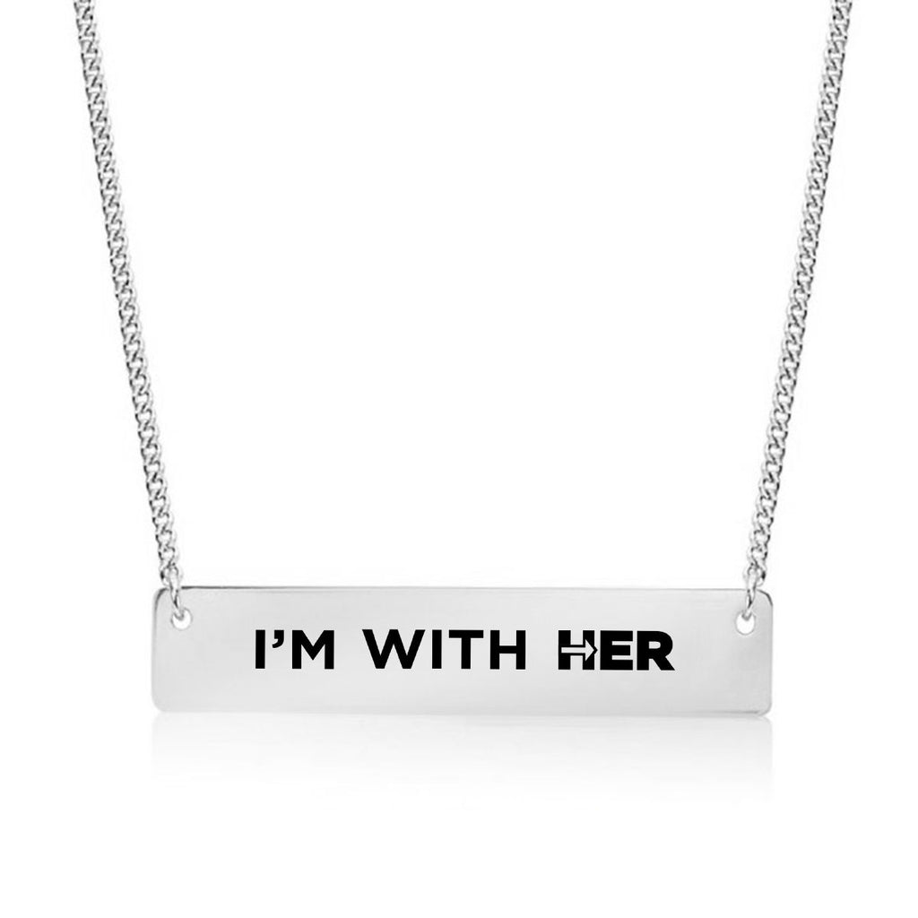I'm With Her Gold / Silver Bar Necklace - pipercleo.com