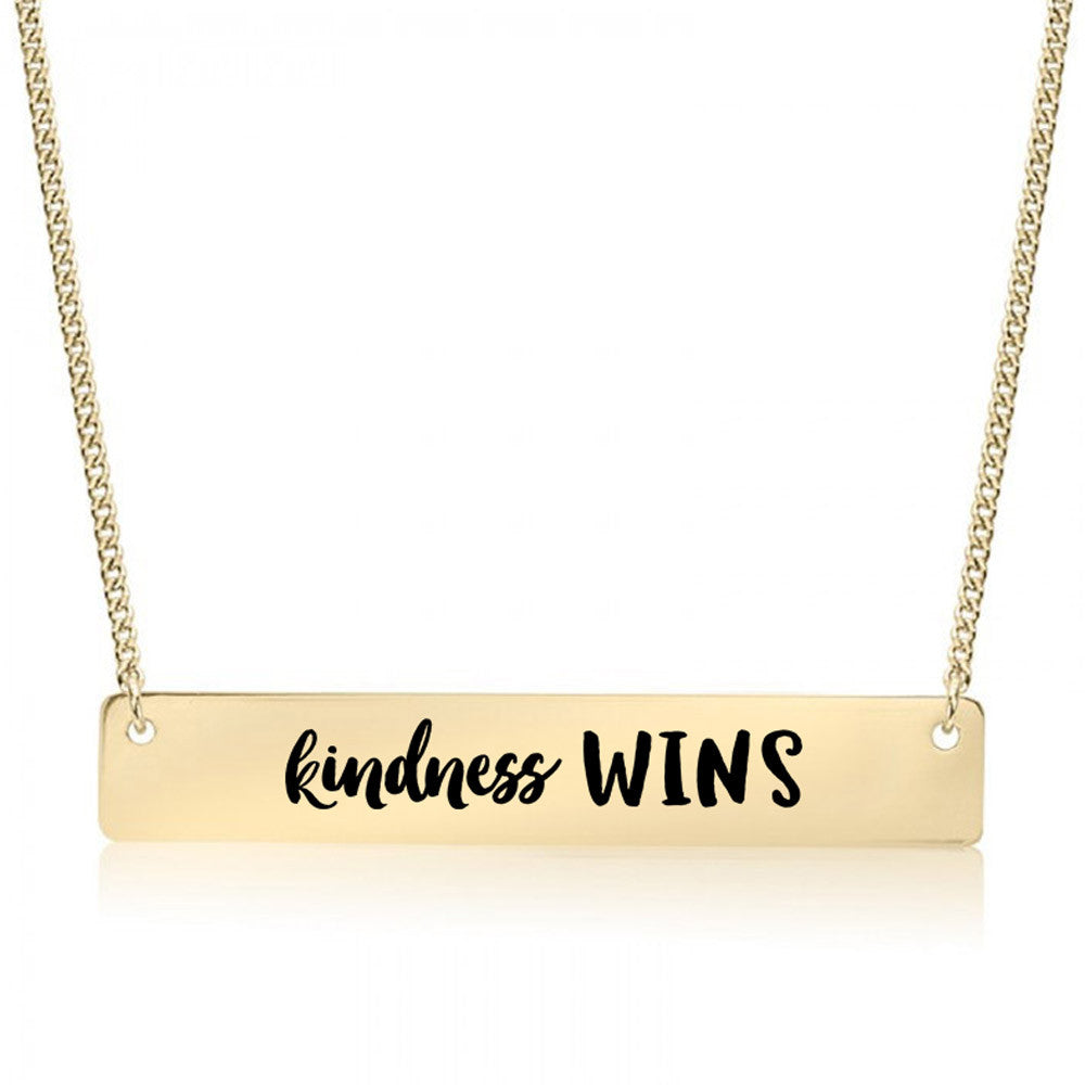 Kindness Wins Gold / Silver Bar Necklace - pipercleo.com