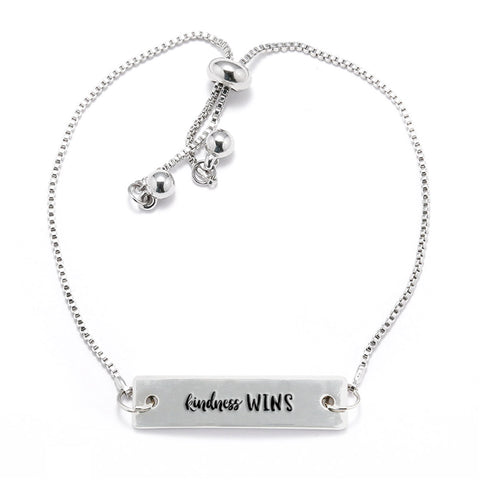 Kindness Wins Silver Bar Adjustable Bracelet