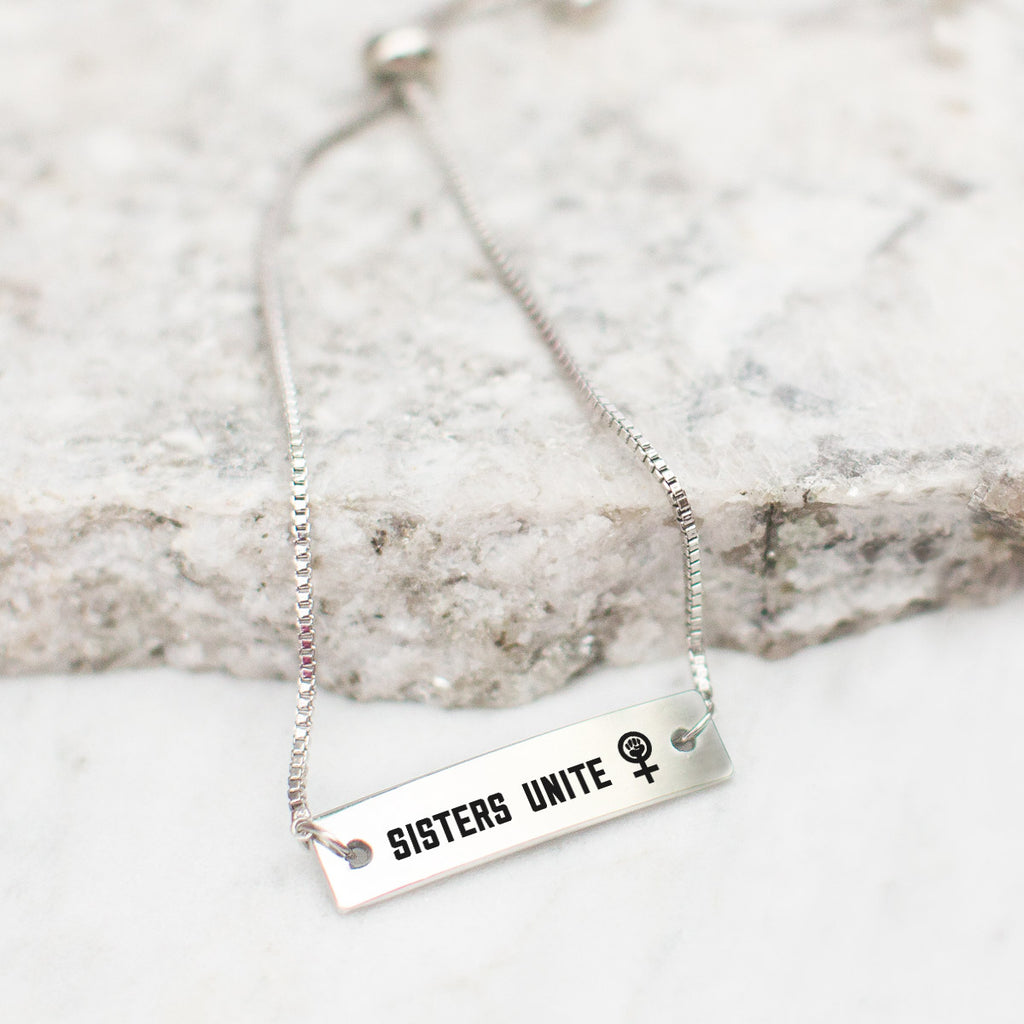 Sisters Unite Silver Bar Adjustable Bracelet - pipercleo.com