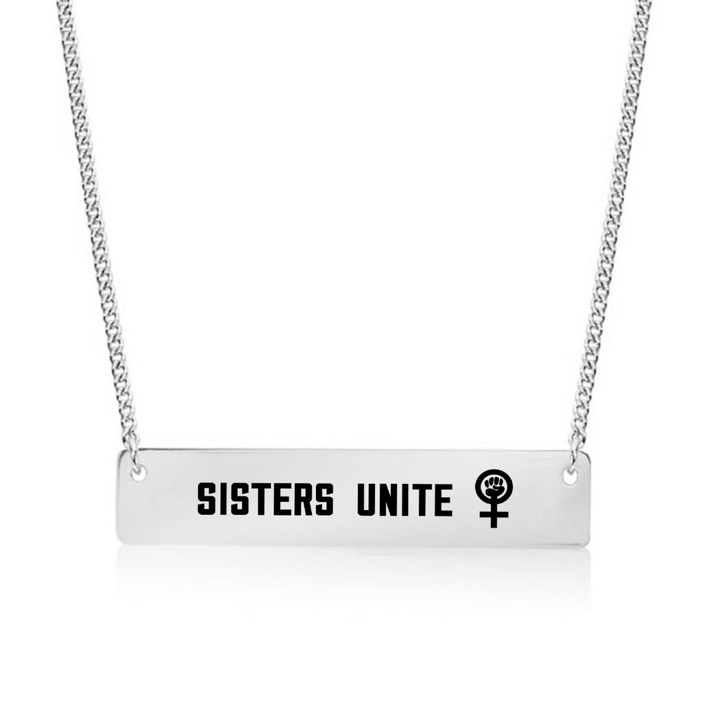 Sisters Unite Gold / Silver Bar Necklace - pipercleo.com